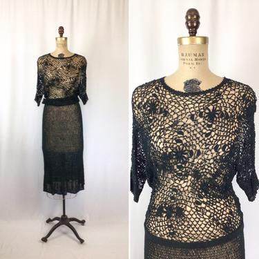 Vintage 30s dress | Vintage dark evergreen rayon knit dress | 1930s crochet lace sweater dress by BeeandMason