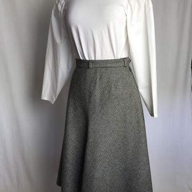 70's wool skirt~ A line/ fit & flare~ Evan Picone~ 1970's black and white micro plaid~ gingham check~ chic woolen skirt by HattiesVintagePDX
