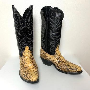 Vintage ACME Snakeskin Cowboy Boots ~ Men's 8.5 D / Women's 10 ~ Western ~ Rockabilly ~ Biker ~ by SparrowsAndWolves