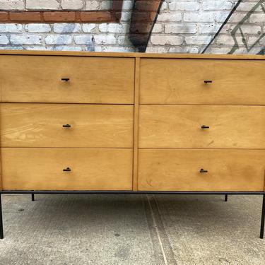 Vintage Paul Mccobb planner group modern mid century 6 drawer blonde maple dresser iron base T pulls by symmetrymodern