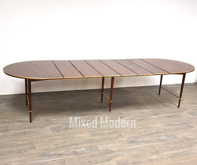 Paul McCobb Walnut and Brass Dining Table by mixedmodern1