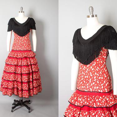 Vintage 1940s Dress   40s Spanish Flamenco Dance Costume Red Cotton Black Fringe Novelty Print Tiered Circle Skirt Dress (medium) by BirthdayLifeVintage