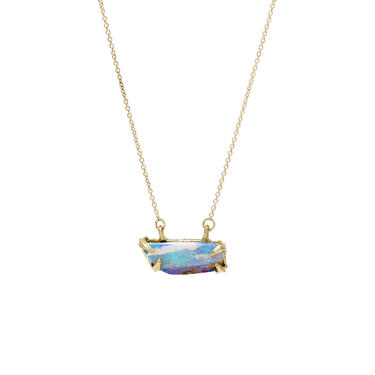 Solid 18K  Ridged Prong Opal Doublet Necklace - Desert 2