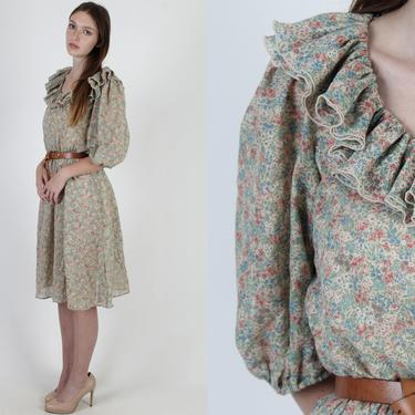 Sage Green tiny Floral Dress / Sheer Flower Secretary Day Dress / Vintage 70s Casual Puff Sleeve Midi Mini Dress by americanarchive