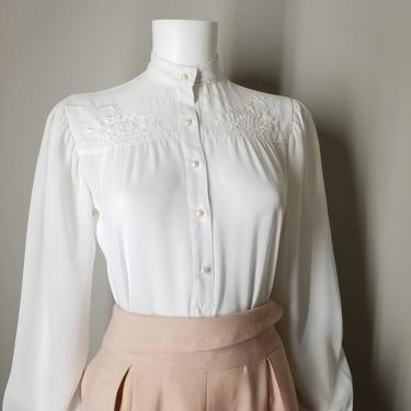 Vintage 80s Sheer White Blouse, Small Petite / Embroidered Prairie Blouse / White Crepe Button Shirt / Retro 1980s Basic Dress Blouse by SoughtClothier