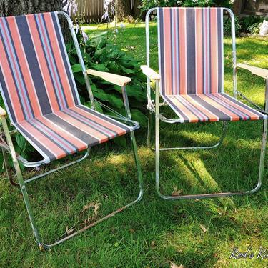Mid Century Pair of Vintage Lerolin Rainbow Fabric Folding Garden/Lawn Lounge Chairs by RedsRustyRelics