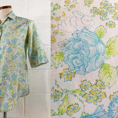 Vintage Glenbrooke Penn-Prest Floral Cotton Blouse Shirt Top Mid-Century Hipster Button Front Blue Green 1960s 60s 3/4 Sleeve Medium Large by CheckEngineVintage