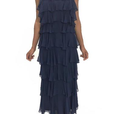 1970S Saks 5Th Avenue Navy Silk Chiffon Ruffled Gown by SHOPMORPHEW