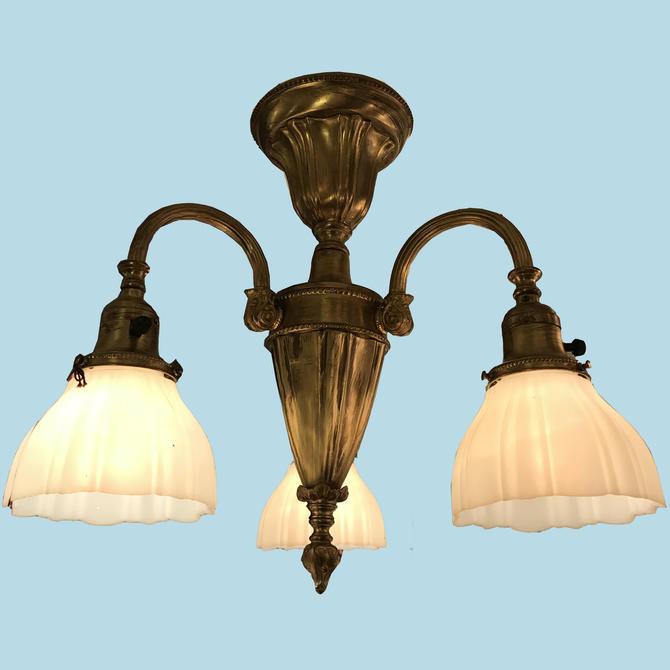 Antique Three Arm Sheffield Light