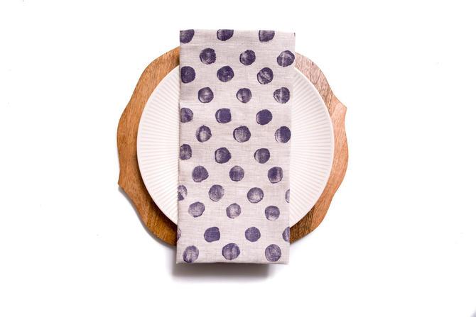 Chunky Polka Dots in Purple Haze on Oatmeal Linen