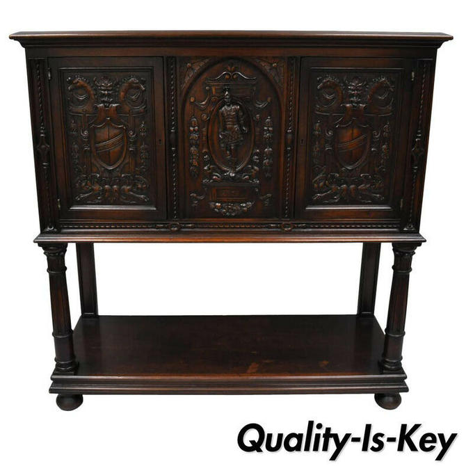 Antique Renaissance Revival Figural Carved Walnut Cabinet Sideboard Cupboard