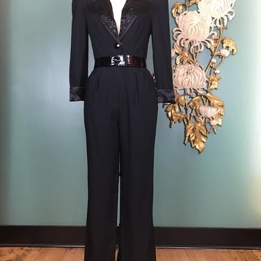 1980s jumpsuit, climax, vintage pantsuit, black rayon crepe, Puff shoulders, Beaded collar, cocktail jumpsuit, small, tuxedo, menswear style by BlackLabelVintageWA