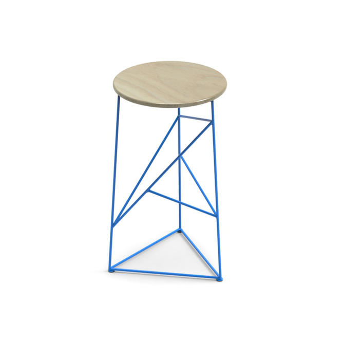 Stool,  Modern Steel Bar Stool in a Blue Finish with Solid Ash Seat by JumpFurniture