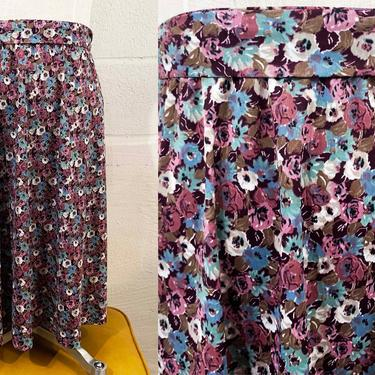 Vintage Floral Midi Skirt Purple Flowers Roses Flowers Boho Hippie Style A-Line 1970s 70s Elastic Waist Tie Belt XXL 2XL 2X Plus Curvy Volup by CheckEngineVintage