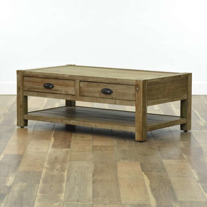 Rustic Style Coffee Table W Storage