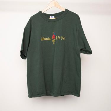 vintage ATLANTA georgia Summer OLYMPICS hunter forest green CHAMPION brand t-shirt top -- size xl by CairoVintage