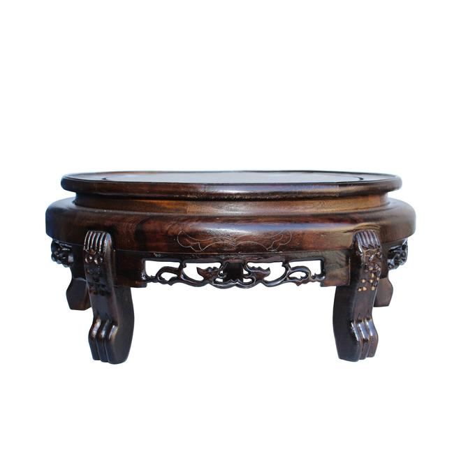 """Chinese Brown Wood Round Table Top Stand Display Easel 10.75"""" ws129AE by GoldenLotusAntiques"""