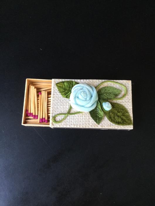 Vintage Sweden Match Box Velvet Flower 1950s by BrainWashington