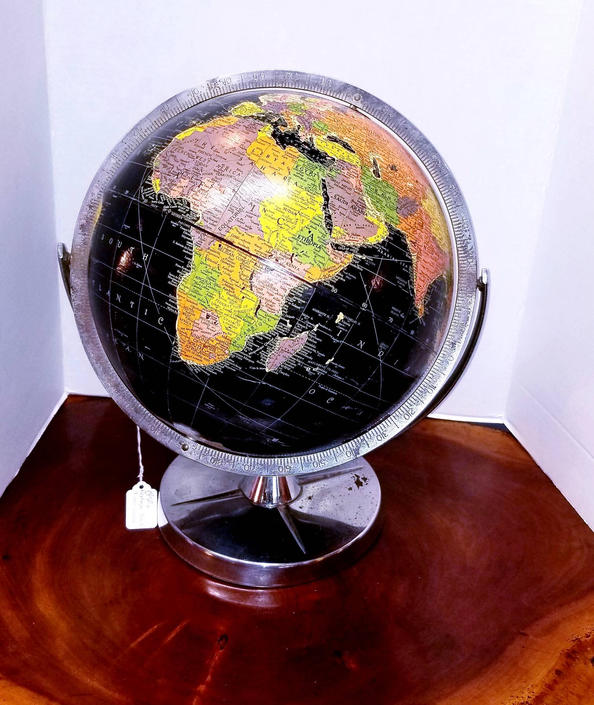 Vintage 1950s Starlight Black Ocean Globe on chrome metal base by MOBvintage