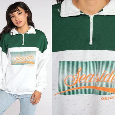 Seaside Oregon Sweatshirt Quarter Zip Sweatshirt 80s 90s Pullover Sweater 1990s Grey Green Sweater Vintage Travel Souvenir Extra Large xl by ShopExile
