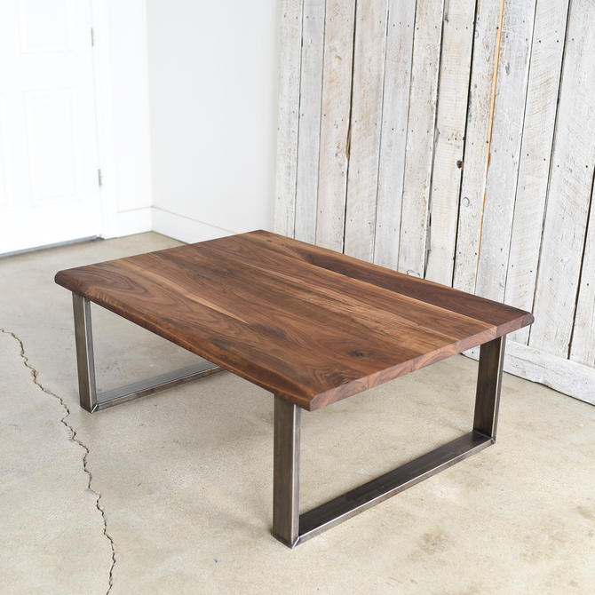 Solid Walnut Coffee Table / Industrial Steel Legs / Live Edge Coffee Table by wwmake