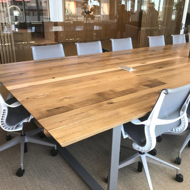 Large Oak Conference Table with knife cut edge, U steel legs. Power not included, inquire for details. Oil finish, clear topcoat. by UrbanWoodGoods