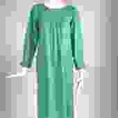 Yves Saint Laurent Rive Gauche Aqua Slub Silk Smock Dress 1970s