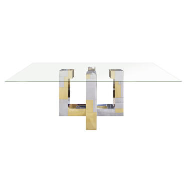 Paul Evans Cityscape Dining Table in Tessellated Chrome and Brass 1970s