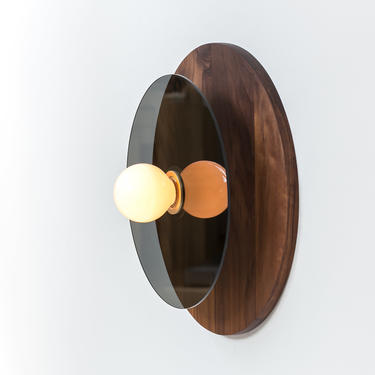 Concentric Plus Wall or Ceiling Light | Walnut And Brushed Brass With Graphite Glass Disc | UL Listed by ObjectandLight