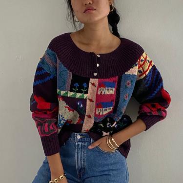 80s hand knit patchwork wool sweater / vintage plum wool hand knit scenic farm landscape patchwork quilt fair isle yoke henley sweater | M L by RecapVintageStudio