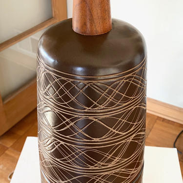 Large Martz Incised Pottery Lamp Original Shade and Finial by Walkingtan