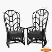 Pair of Black Fretwork Rattan Wingback Chairs
