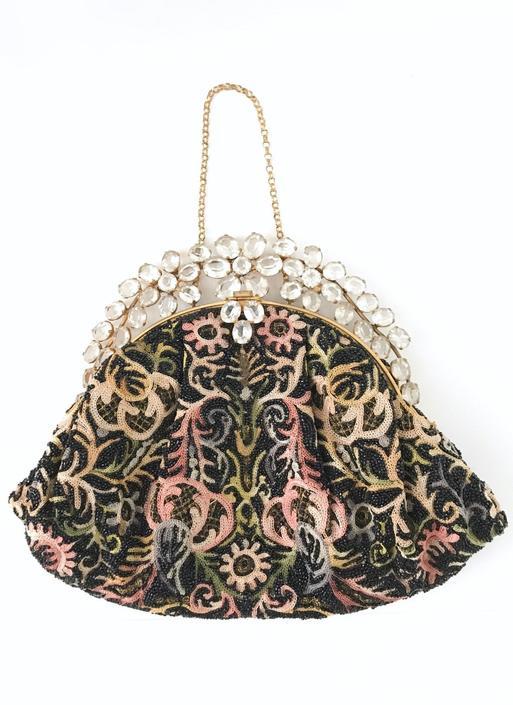 1940s 50s jeweled crewel work embroidery beaded purse handbag Hobe Josef by hemlockvintage