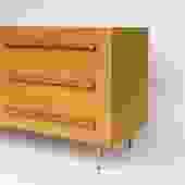 In the Works! T.H. Robsjohn-Gibbings Brass & Wicker Dresser for Widdicomb