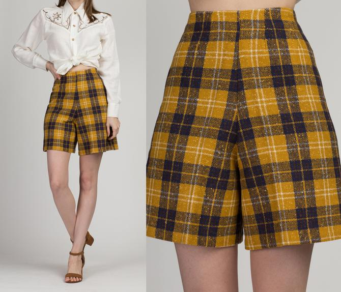 """60s 70s Plaid High Waisted Shorts - XXS, 22"""" 