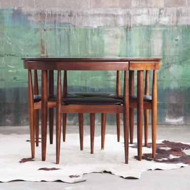 RARE BEAUTY, Mid Century Orig. 1960s Iconic Hans Olsen Designer Dining SET 4 triangle Tripod chairs + Round Table McM Walnut Winchendon by CatchMyDriftVintage