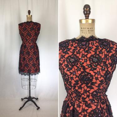 Vintage 50s wiggle dress   Vintage orange black lace sequin party dress   1950's cocktail dress by BeeandMason