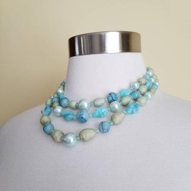 Vintage 60s Beaded Necklace / Boho Chic Three Strand Choker / Blue Multi Strand Necklace / Boho Hippie Beach Jewelry / Statement Necklace by SoughtClothier