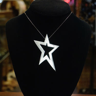 Vintage Sterling Silver Star Pendant, Large Silver Cut Out Star Pendant, Taxco 925 Star Pendant, Made In Mexico by shopGoodsVintage