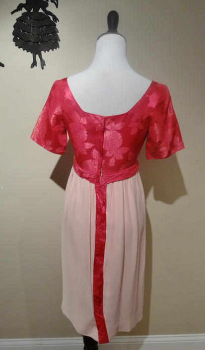 Vintage 1960's Cocktail Dress / 60s Formal Satin Hot Pink Dress XS/S by SilhouettetsyVintage