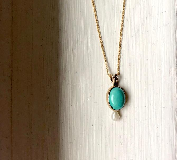 14k yellow gold turquoise and pearl handmade small pendant by RachelPfefferDesigns
