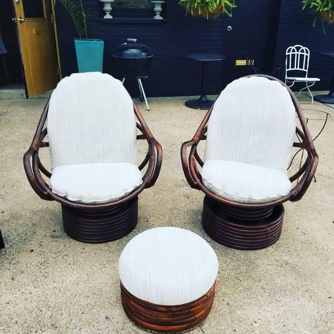Astounding Pair Of 1970S Rattan Swivel Chairs With Ottoman 350 Pabps2019 Chair Design Images Pabps2019Com