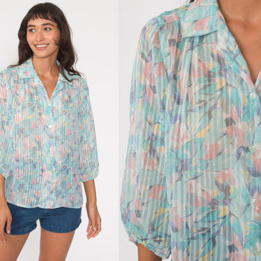 Sheer Floral Blouse 70s Boho Top Baby Blue Bird Of Paradise Button Up Shirt Bohemian Long Sleeve 1970s Vintage Hippie Summer Medium by ShopExile