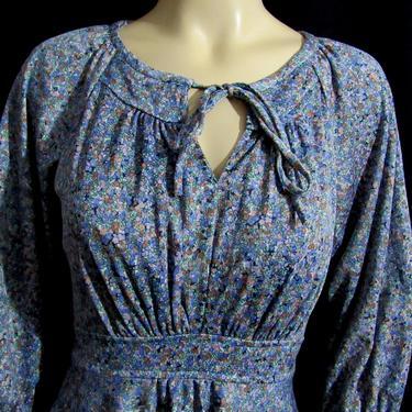Vintage 70s Peasant Boho Dress Tiny Flowers Self Long Sash Full Skirt Fitted Bodice by GraveyardVintage