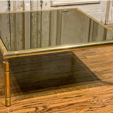 Mid-Century French Brass Faux Bamboo Smoked Mirror Glass Coffee Table by LynxHollowAntiques