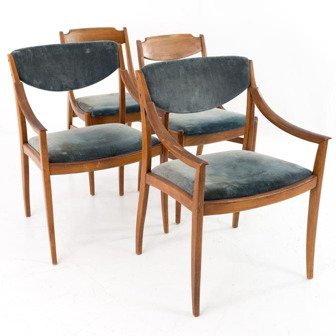 Barney Flagg for Drexel Parallels Mid Century Walnut Dining Chairs - RESTORED Set of 4 - mcm by ModernHill