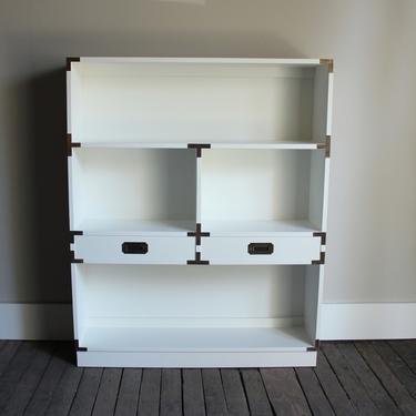 White Campaign Bookcase - $395
