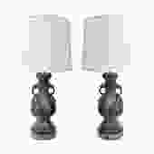 Pair of Hand-Forged Table Lamps in Wrought-Iron 1970s