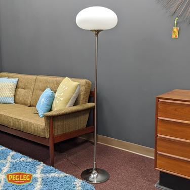 Mid-Century Modern chrome floor lamp with frosted glass globe by Laurel Lamp Co.