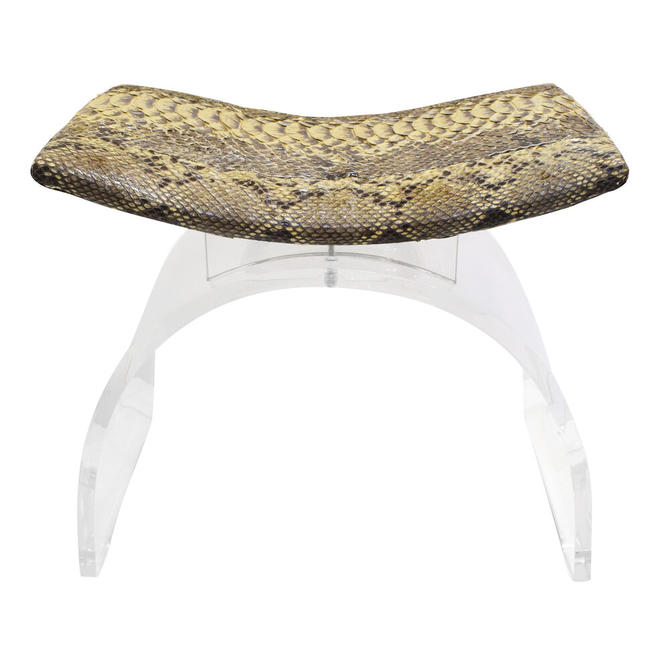 Chic Bench In Lucite With Python Seat 1970s